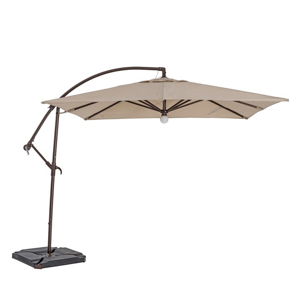 sorara usa 9 foot cantilever square umbrella with light free shipping today. Black Bedroom Furniture Sets. Home Design Ideas