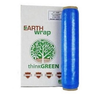 Hand Wrap 16 In 1500 Ft Blue Pre-Stretch Wrap Shrink Film Banding (4 Rolls) 8.5 Mic