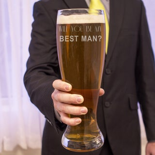 Will You Be My Best Man 54-ounce Extra Large Beer Pilsner Glass