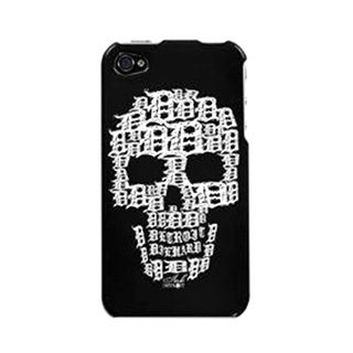 Ink Detroit White Skull Protector Cover Case for iPhone 4 4S - Black