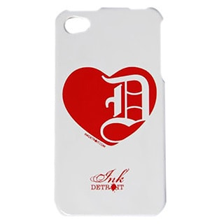 Ink Detroit Red Heart Detroit Protector Cover Case for iPhone 4 / 4S - White