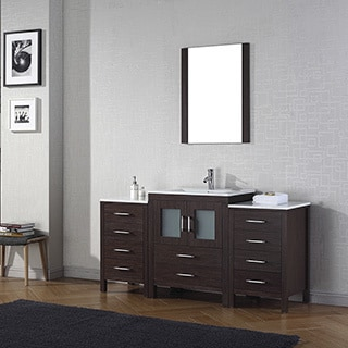 Virtu USA Dior 64-inch Ceramic Top Single Bathroom Vanity Set with Faucet