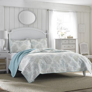Link to Laura Ashley Saltwater Blue Reversible 3-piece King Size Cotton Quilt Set (As Is Item) Similar Items in As Is