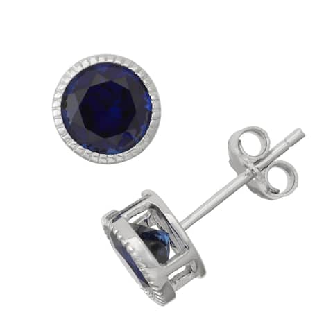 Gioelli Sterling Silver Sapphire Bezel Stud Earrings