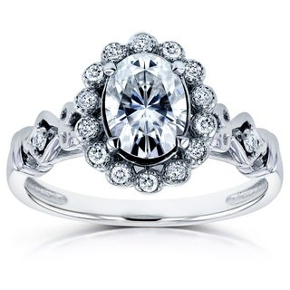 Annello by Kobelli 14k White Gold Forever Brilliant Moissanite and 1/8ct TDW Diamond Vintage Ring (H-I, I1-I2)