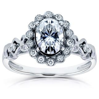Annello by Kobelli 14k White Gold 1ct TGW Moissanite (FG) and Diamond (GH) Oval Vintage Ornate Ring|https://ak1.ostkcdn.com/images/products/11592997/P18532471.jpg?impolicy=medium