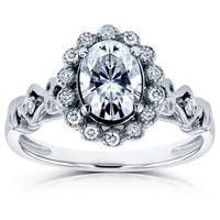 Annello by Kobelli 14k White Gold 1ct TGW Moissanite (FG) and Diamond (GH) Oval Vintage Ornate Ring