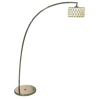Annaliese 1-light Off-white 64-inch Chrome Tiffany-style Floor Lamp