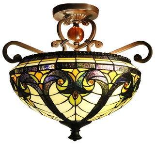 Becky 2-light Off-white 15-inch Tiffany-style Ceiling Lamp