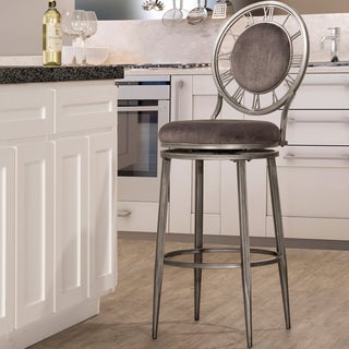 Big Ben Pewter Finish and Ash Fabric Counter Stool