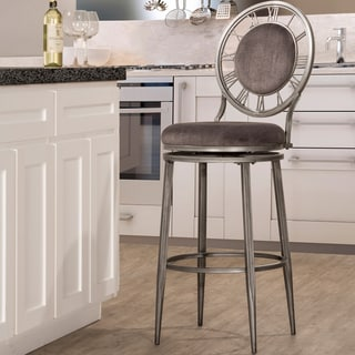 Big Ben Pewter Finish and Ash Upholstered Bar Stool