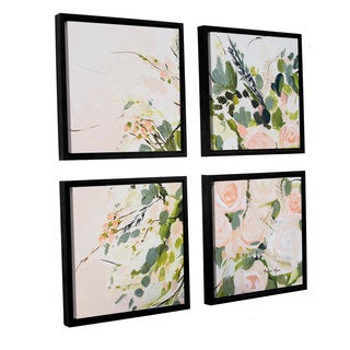 Melissa Lyons's 'Peachy Floral' 4 Piece Floater Framed Canvas Sqare Set