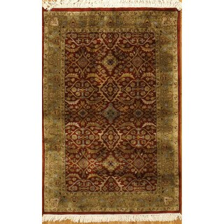 Hand Knotted with Classic Agra Design Rug (3'11 x 5'11)