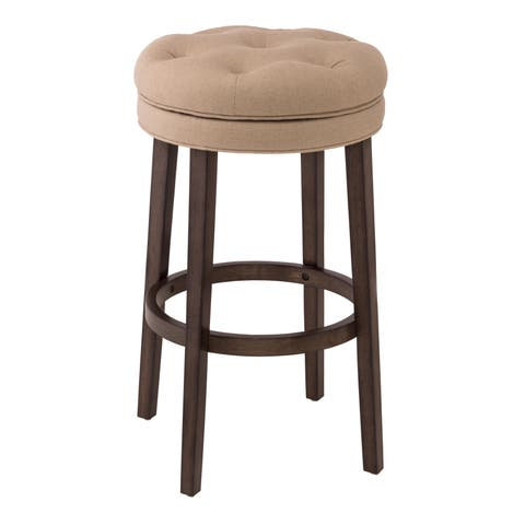 Krauss Stone Linen Upholstered Swivel Bar Stool