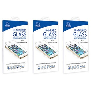 Rhino 9H Hardness Bubble Free Clear Tempered Glass Screen Protector for Apple iPhone 5/5S/5C - Pack of 3