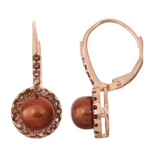 Gioelli Rose Goldplated Smoky Quartz and Chocolate Freshwater Pearl Leverback Earrings