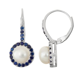 Gioelli Sterling Silver Sapphire and Freshwater Pearl Leverback Earrings