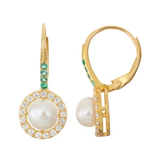 Gioelli Sterling Silver Emerald and Freshwater Pearl Leverback Earrings
