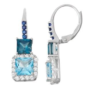 Gioelli SterlingSilver Swiss Blue Topaz, London Blue Topaz and Sapphire Leverback Earrings
