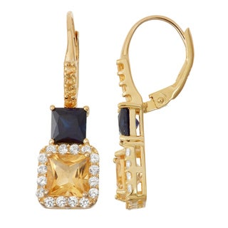 Gioelli Goldplated Silver Citrine and Sapphire Leverback Earrings