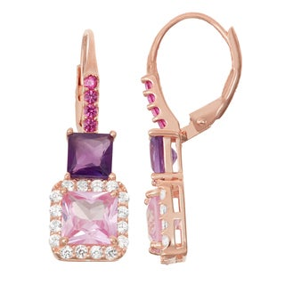 Gioelli Rose Goldplated Silver Pink Sapphire, Amethyst and Ruby Leverback Earrings