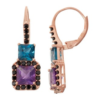 Gioelli Rose Goldplated Silver Amethyst, London Blue Topaz and Black Spinel Leverback Earrings