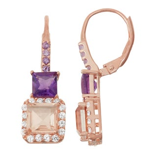 Gioelli Rose Goldplated Silver Morganite Quartz and Amethyst Leverback Earrings