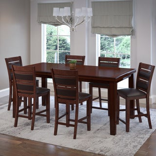 Warm Brown Wood and Chocolate Bonded Leather Extendable Counter Height 7-piece Dining Set