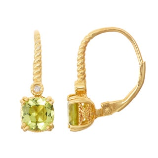 Gioelli Diamond Accent Goldplated Silver Peridot Leverback Earrings
