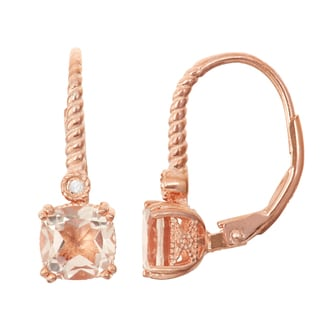 Gioelli Diamond Accent Rose Goldplated Silver Quartz Leverback Earrings