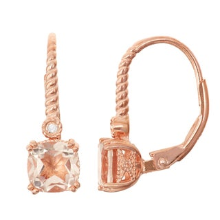 Gioelli Diamond Accent Rose Goldplated Silver Morganite Quartz Leverback Earrings