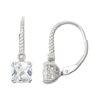 Gioelli Diamond Accent Sterling Silver White Sapphire Leverback Earrings
