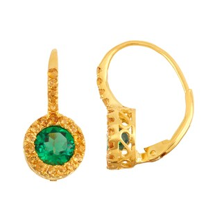 Gioelli Goldplated Silver Emerald and Citrine Leverback Earrings