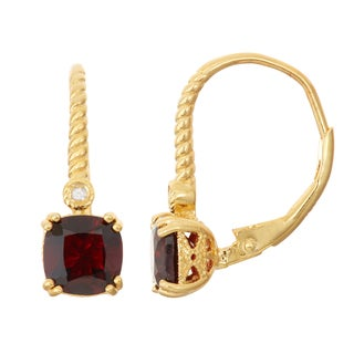 Gioelli Diamond Accent Goldplated Silver Garnet Leverback Earrings