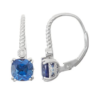 Gioelli Diamond Accent Sterling Silver Sapphire Leverback Earrings