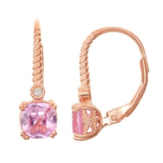 Gioelli Diamond Accent Rose Goldplated Silver Pink Sapphire Leverback Earrings