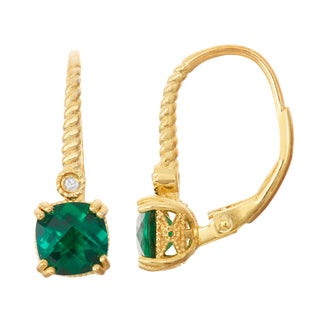 Gioelli Diamond Accent Goldplated Silver Emerald Leverback Earrings