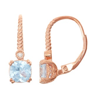 Gioelli Diamond Accent Rose Goldplated Silver Aqua Leverback Earrings