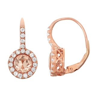 Gioelli Rose Goldplated Silver Morganite Quartz Leverback Earrings