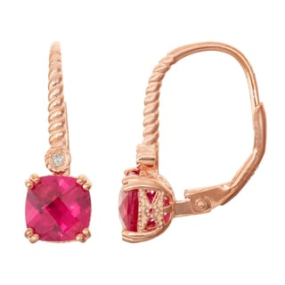 Gioelli Diamond Accent Rose Goldplated Silver Ruby Leverback Earrings