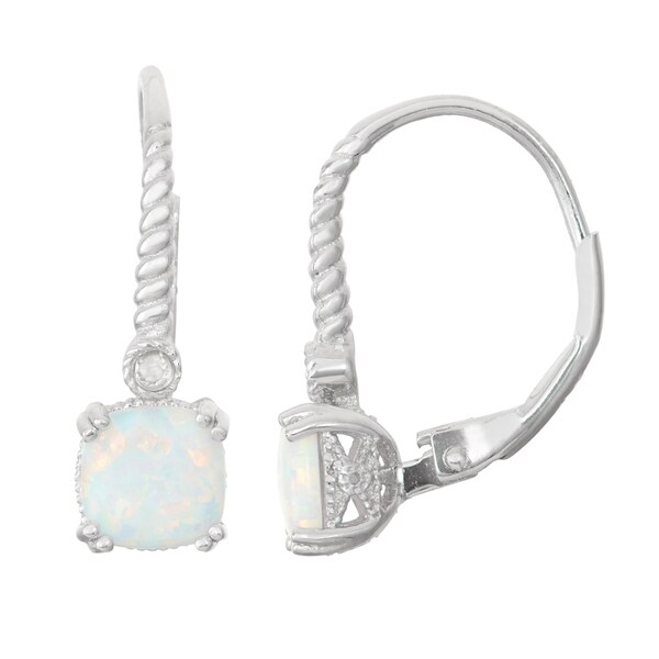 Gioelli Diamond Accent Sterling Silver Opal Leverback Earrings