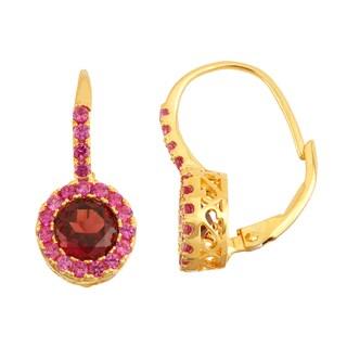 Gioelli Goldplated Silver Garnet and Ruby Leverback Earrings