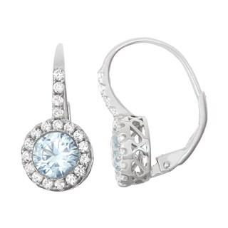 Gioelli Sterling Silver Aqua Leverback Earrings