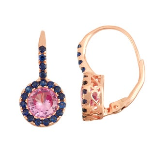 Gioelli Rose Goldplated Silver Pink Sapphire and Sapphire Leverback Earrings