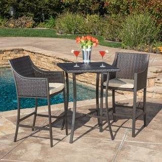 Link to Riga Outdoor 3-piece Wicker Bistro Bar Set with Cushion by Christopher Knight Home Similar Items in Outdoor Dining Sets