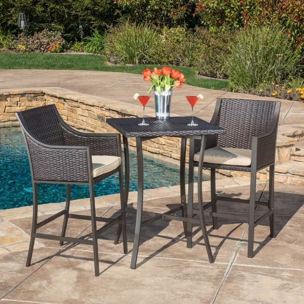 Riga Outdoor 3-piece Wicker Bistro Bar Set with Cushion by Christopher Knight Home