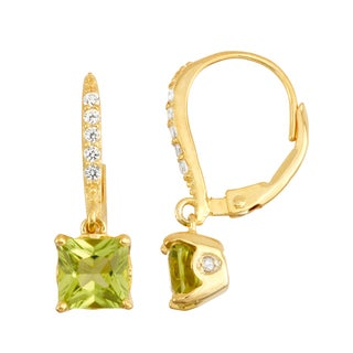 Gioelli Goldplated Silver Diamond Accent Peridot Leverback Earrings