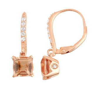 Gioelli Rose Goldplated Silver Diamond Accent Simulated Morganite Leverback Earrings