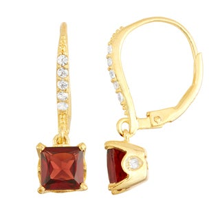 Gioelli Goldplated Silver Diamond Accent Garnet Leverback Earrings