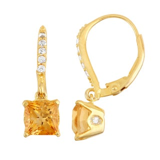 Gioelli Goldplated Silver Diamond Accent Citrine Leverback Earrings